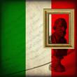 Busto di Giuseppe Verdi, spartito musicale