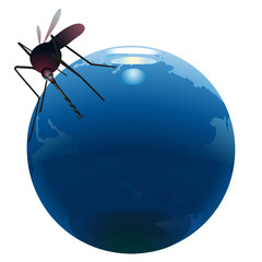 Mosquito sucking out natural resources  on the Earth