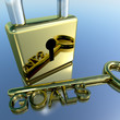 Padlock With Goals Key Showing Objectives Hope And Future