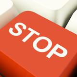 Stop Computer Key Showing Denial Panic And Negativity