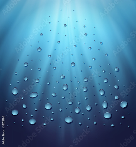 water blue background drops