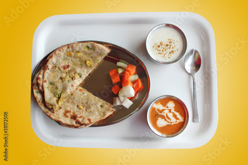 Indian paratha with stuffed aloo vegetables