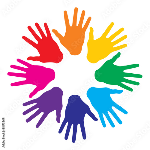 colorful hand prints, abstract vector illustration for design