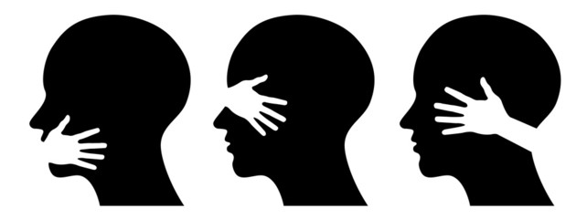 set silhouettes of heads,  concept for medical  or health design