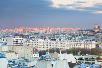 View over the 6th arrondissement in Paris at evening