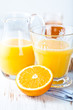 Glass and jug of fresh orange juice