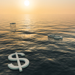 Dollars Floating To A Sunset Showing Money Wealth Or Earnings