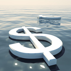 Dollar Floating And Euro Going Away Showing Money Exchange Or Fo