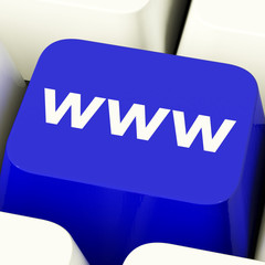 Www Computer Key In Blue Showing Online Websites Or Internet