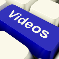 Videos Computer Key In Blue Showing Dvd Or Multimedia