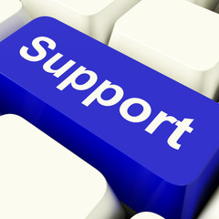 Support Computer Key In Blue Showing Help And Assistance