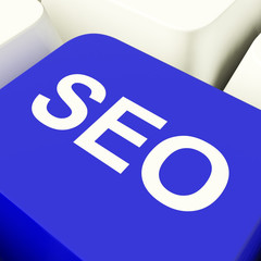 SEO Computer Key In Blue Showing Internet Marketing And Optimiza