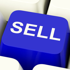 Sell Computer Key In Blue Showing Sales And Business