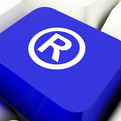 Registered Computer Key In Blue Showing Patent Or Trademark