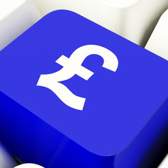 Pound Symbol Computer Key In Blue Showing Money And Investment