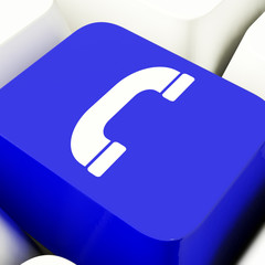 Handset Icon Computer Key In Blue For Helpdesk Or Assistance