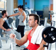 man relaxed on gym after fitness sport training