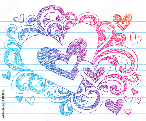 Valentine's Day Hearts Sketchy Doodles Vector