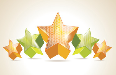 Abstract Colorful Background with 3d glass stars. Vector.