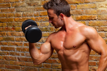 muscle shaped body man with weights on brick wall