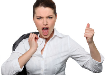 Businesswoman giving  thumbs up gesture