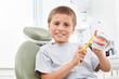 Kind beim Zahnarzt mit Zahnbürste