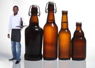 Waiter with beer bottles