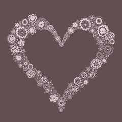 romantic  floral heart- shaped frame