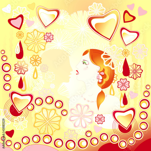 Young loving couple on an abstract yellow background