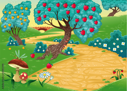 Foto op Plexiglas Magische wereld Wood with fruit trees. Cartoon and vector illustration