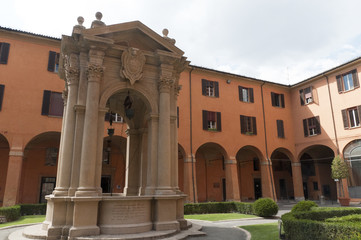 Courtyard in the Town Hall in Bologna Italy