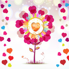 Valentine's day card with butterflies and flowers