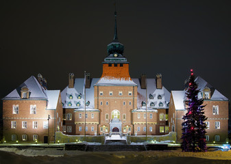 City Hall in Ostersund at winter evening, Sweden