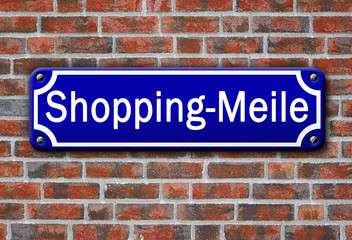 Strassenschild Shopping-Meile
