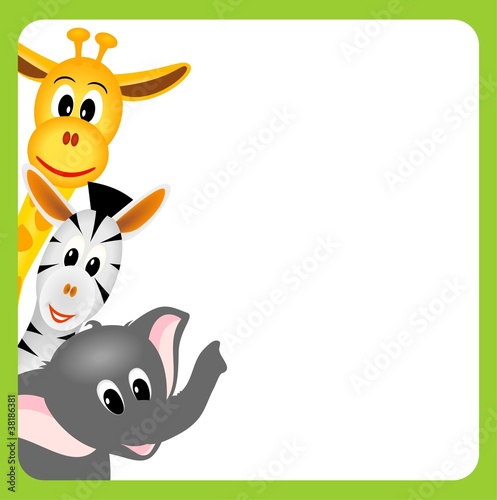 bitmap illustration of little giraffe, elephant and zebra