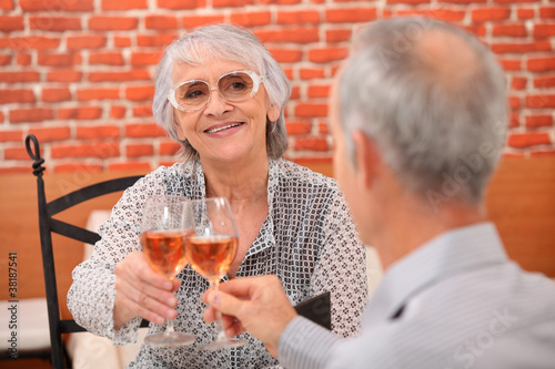 senior couple in a restaurant