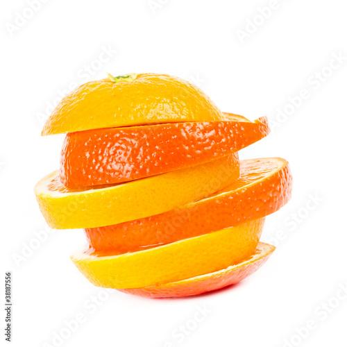 Fotobehang Plakjes fruit gefächerte Orangen