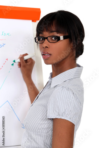 black female executive making presentation during meeting