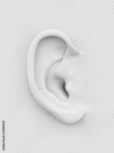 White soft human ear. 3d