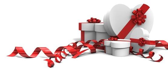 Cadeaux en forme de cœur 3d