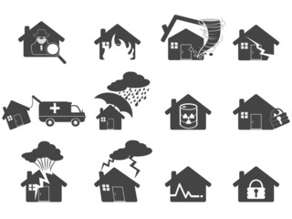set of house disaster icon