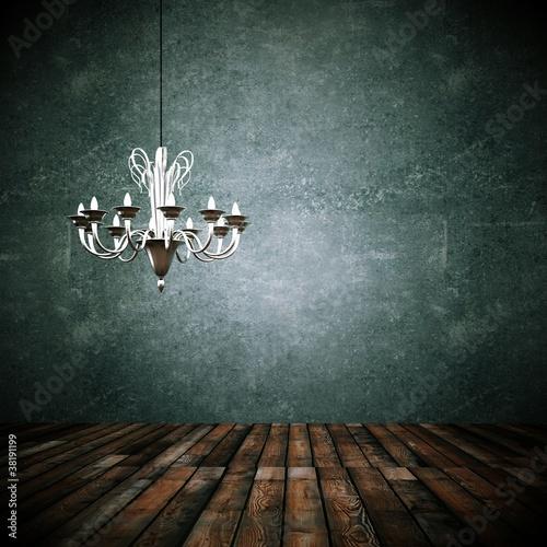 Wohndesign -Dekowand mit Kronleuchter grau