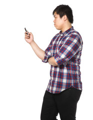 man sms on mobile phone