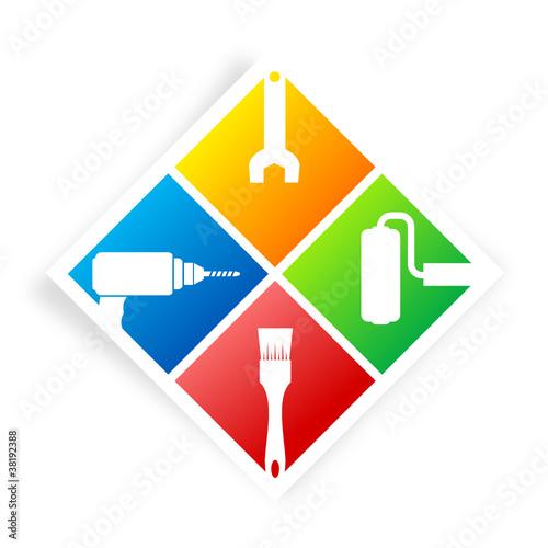 logo bricolage 4 couleurs losange
