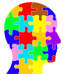 Profile of a head showing coloured jigsaw/puzzle pieces