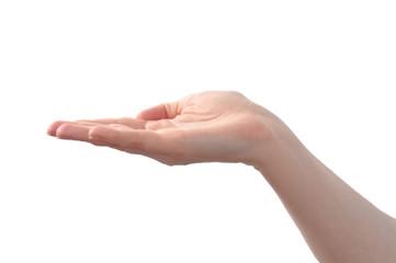 Waagerechte Hand einer Frau