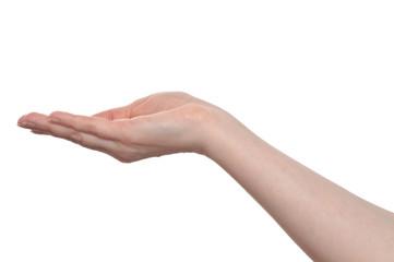 Frau fängt mit der Hand