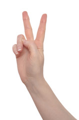Hand mit Victory Zeichen