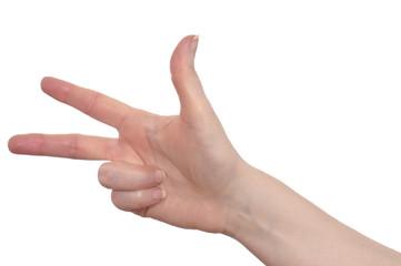 Hand mit drei Finger