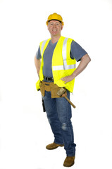 Standing confident construction worker